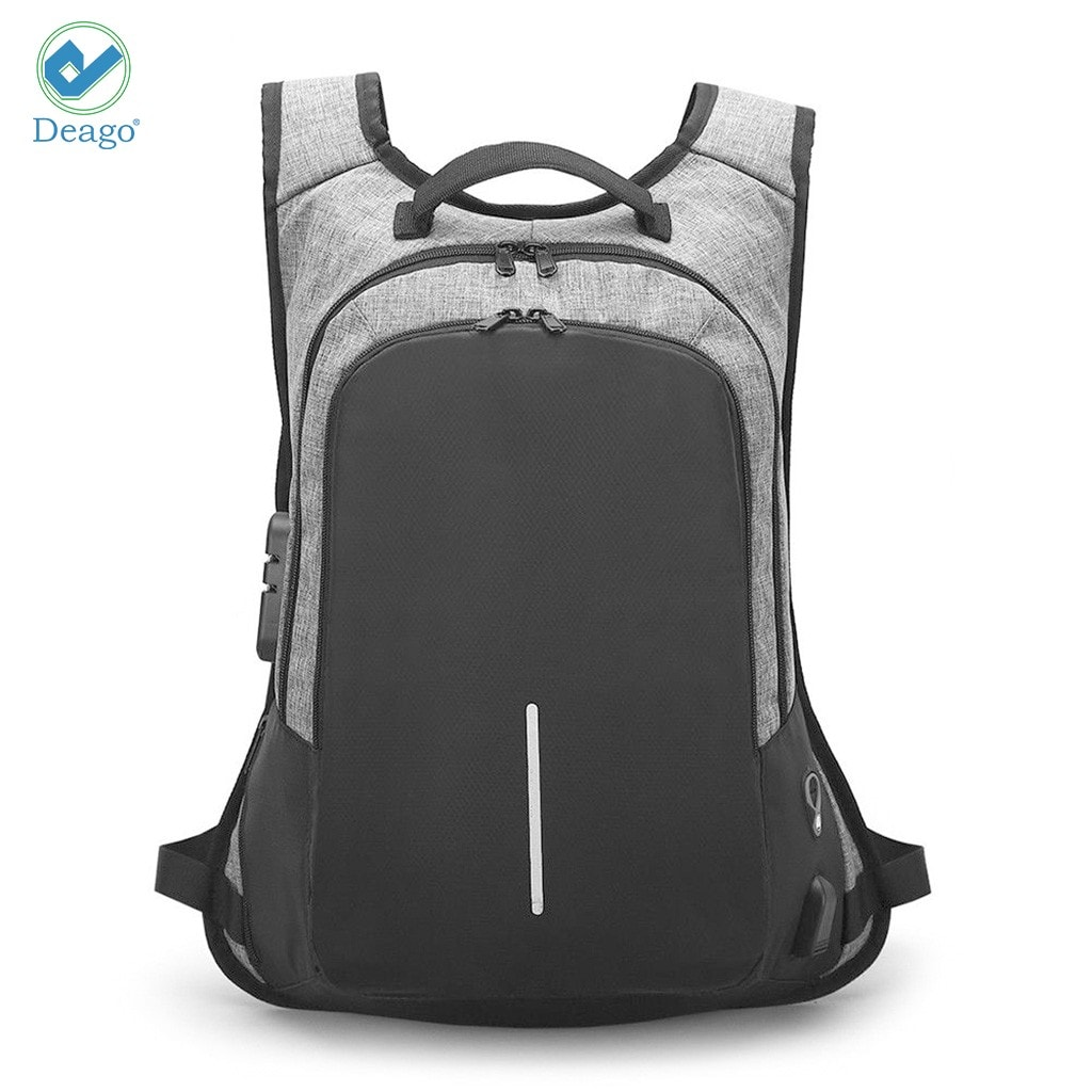 Deago Laptop Backpack, Travel Computer Bag For Women & Men, Anti Theft With Lock, Business School Backpack With USB Charging Port (19.6″X11.8″X4″, Gray)