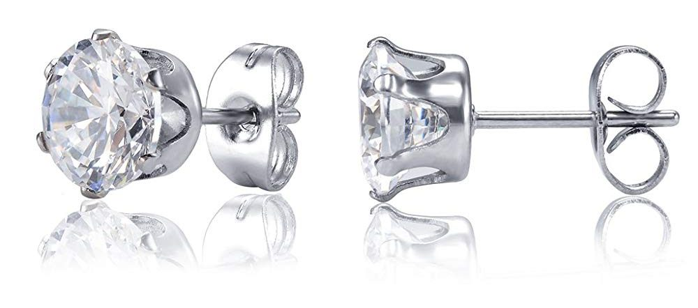 Jstyle Jewelry Women's Stainless Steel Round Clear Cubic Zirconia Stud Earring