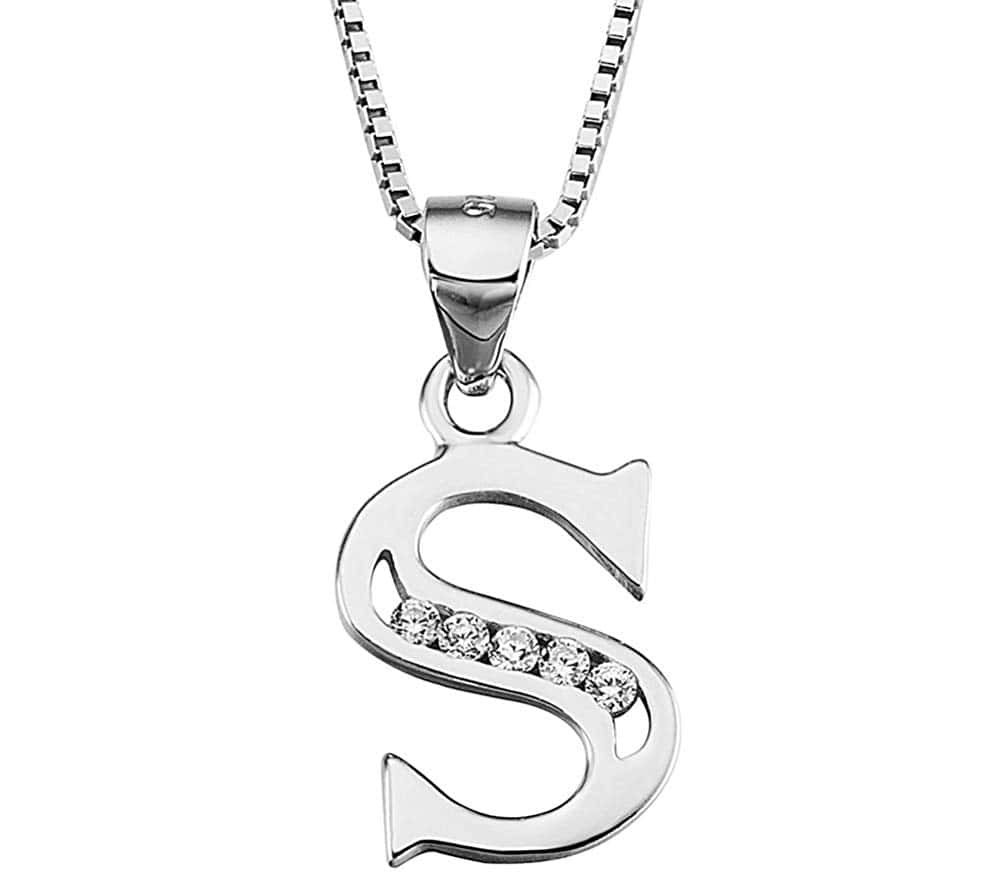 YFN Initial Pendant Necklace Earrings in Sterling Silver with Cubic Zirconia 26 Letter Alphabet Jewelry for Women Teen Girl