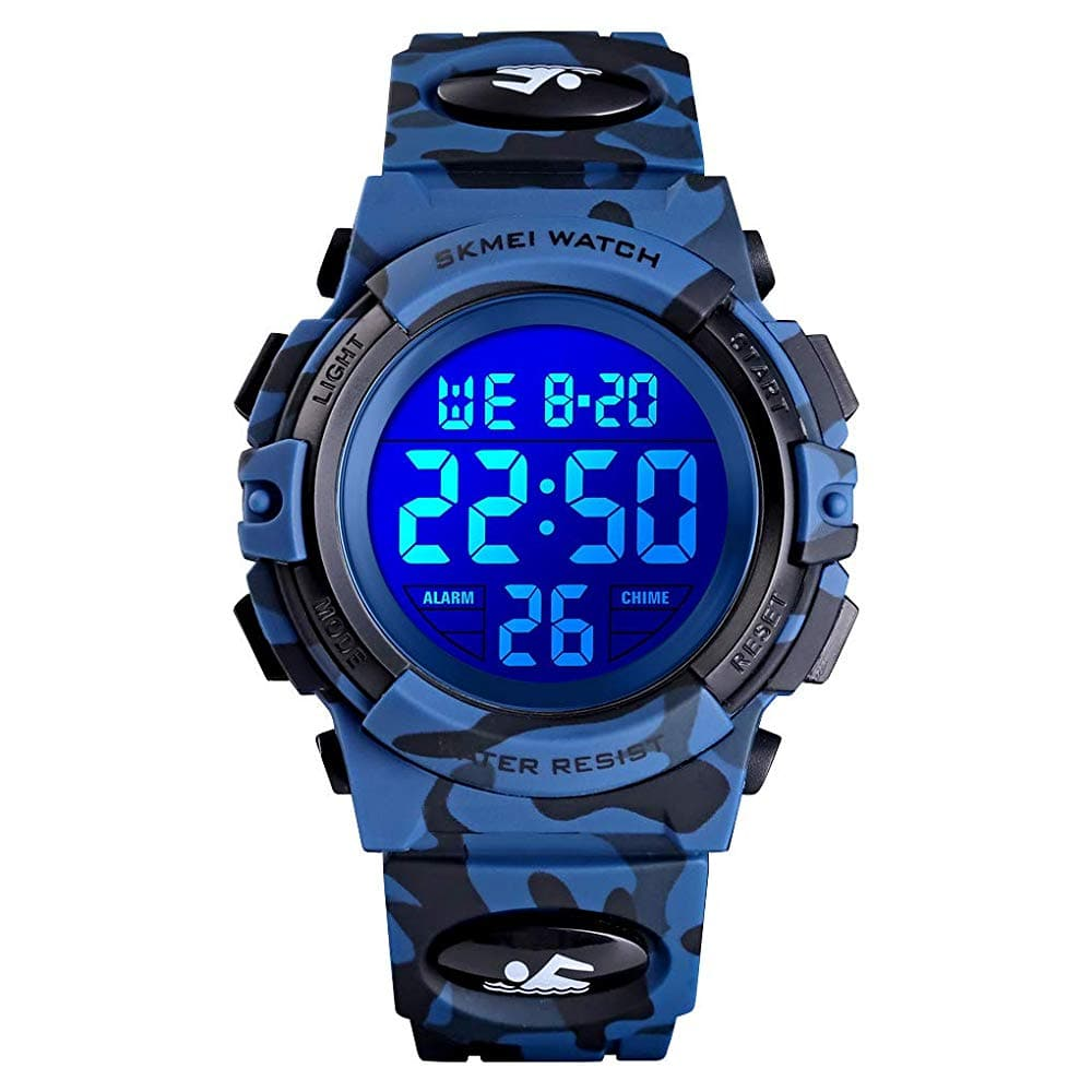 XFCS Kids Watch Boys Camouflage Digital Sport Watch Waterproof EL-Lights Electrical Watches with Alarm Stopwatch Child Wrist Watch Outdoor