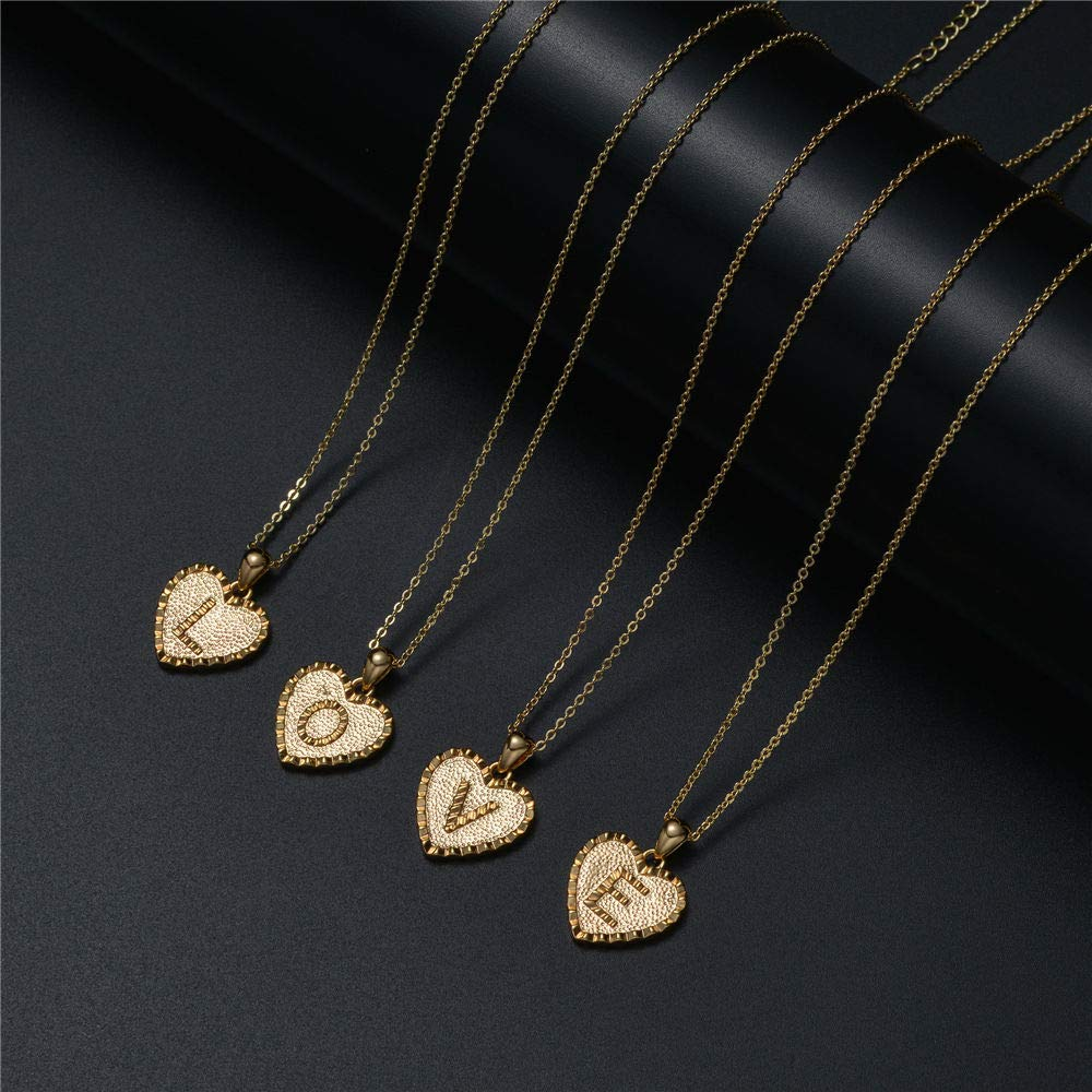 M MOOHAM Heart Initial Necklace For Women Girls – 14K Gold Filled Heart Pendant Initial Necklace For Women Girls Kids, Alphabet Monogram Letter Necklace Gifts For Girls Teens Kids
