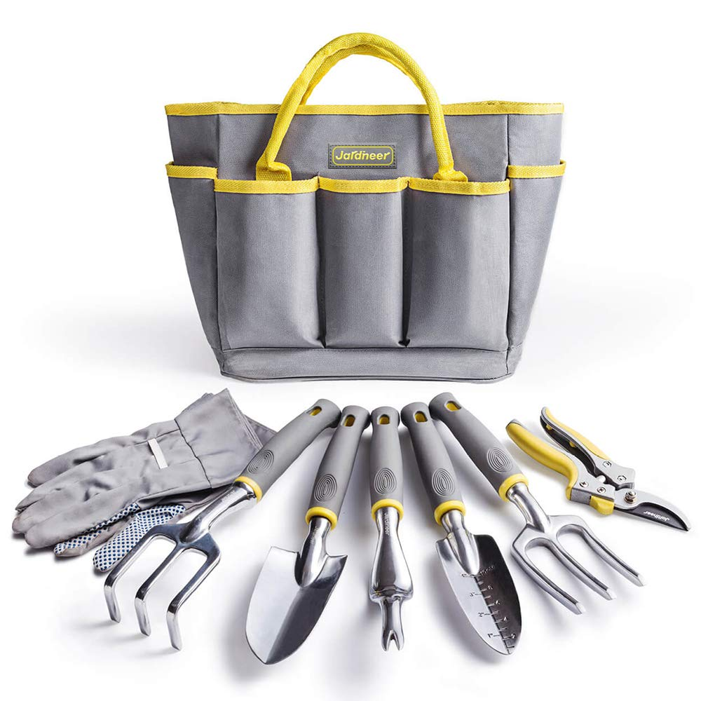 Jardineer Garden Tools Set, 8PCS Heavy Duty Gardening Tools Kit with Aluminum Hand Tools Set, Garden Gloves and Garden Tote Bag