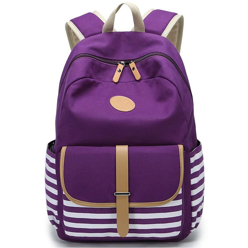 "FLYMEI Canvas Backpack, School Backpack 17.7""X13.8""X6.7"" College Bookbag Lightweight Laptop Bag Travel Daypack for Teen Girls Women – Purple"