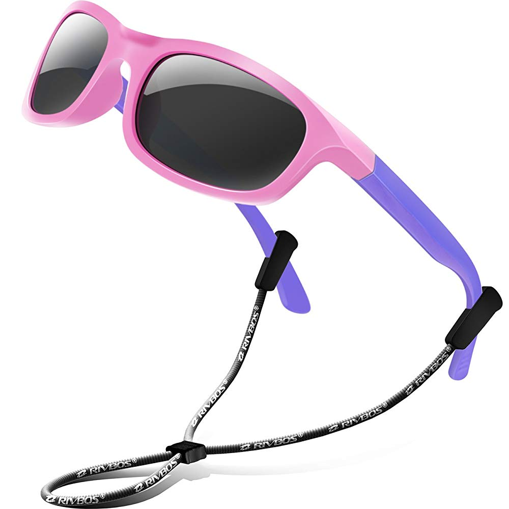 RIVBOS Rubber Kids Polarized Sunglasses With Strap Glasses for Girls