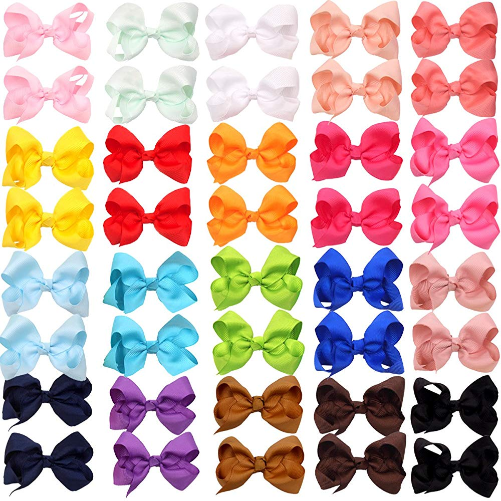 40 Pieces Boutique Grosgrain Ribbon Pinwheel 3″ Hair Bows Alligator Clips For Teens Girls In Pairs