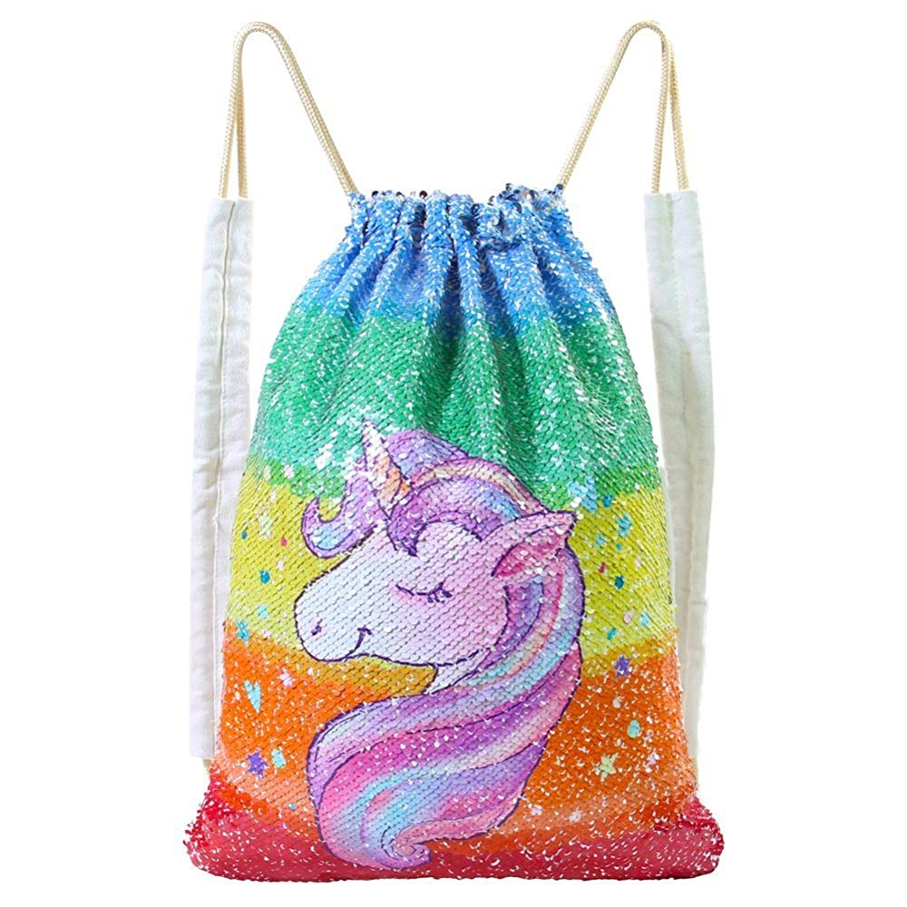 MHJY Sequin Bag Unicorn Drawstring Bag Mermaid Backpack Sparkly Gym Dance Bag Reversible Flip Sequin Bling Backpack For Hiking and Beach