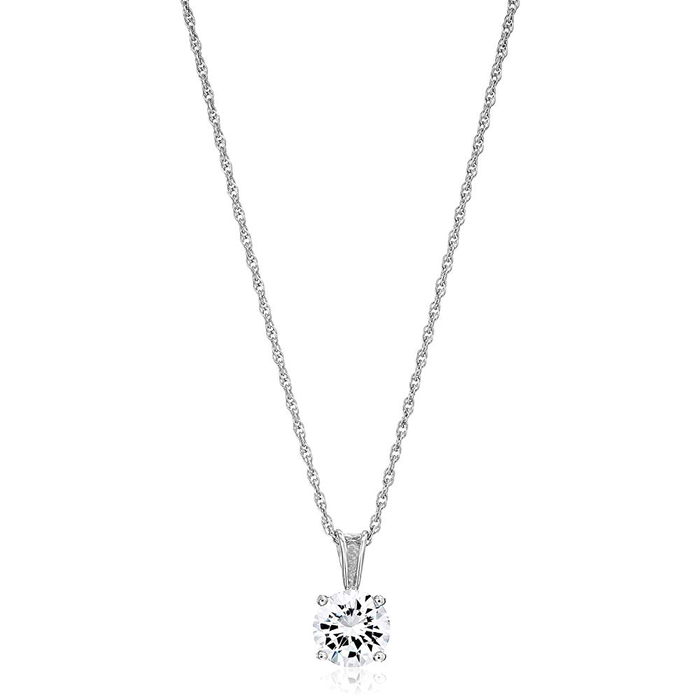 Amazon Essentials Plated Sterling Silver Cubic Zirconia Round Cut Solitaire Pendant Necklace, 18″