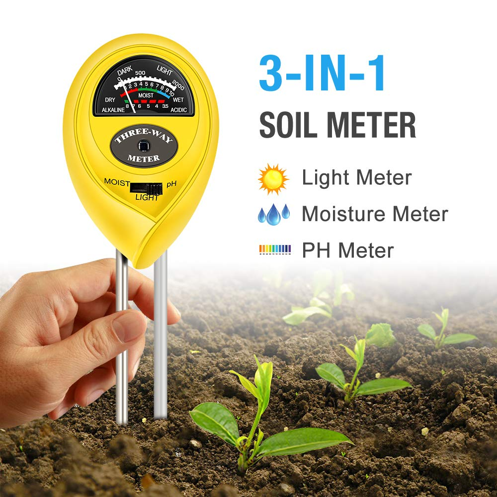 Atree Soil pH Meter, 3-in-1 Soil Tester Kits with Moisture,Light and PH Test for Garden, Farm, Lawn, Indoor & Outdoor