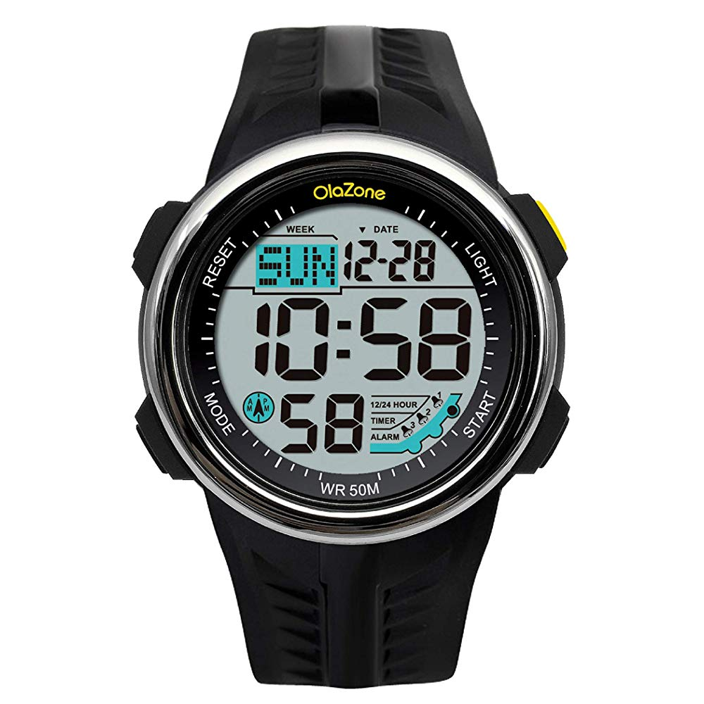 Digital Sports Watch Water Resistant 60 Lap 3 Alarm Stopwatch Dual Time Black Boys Watch