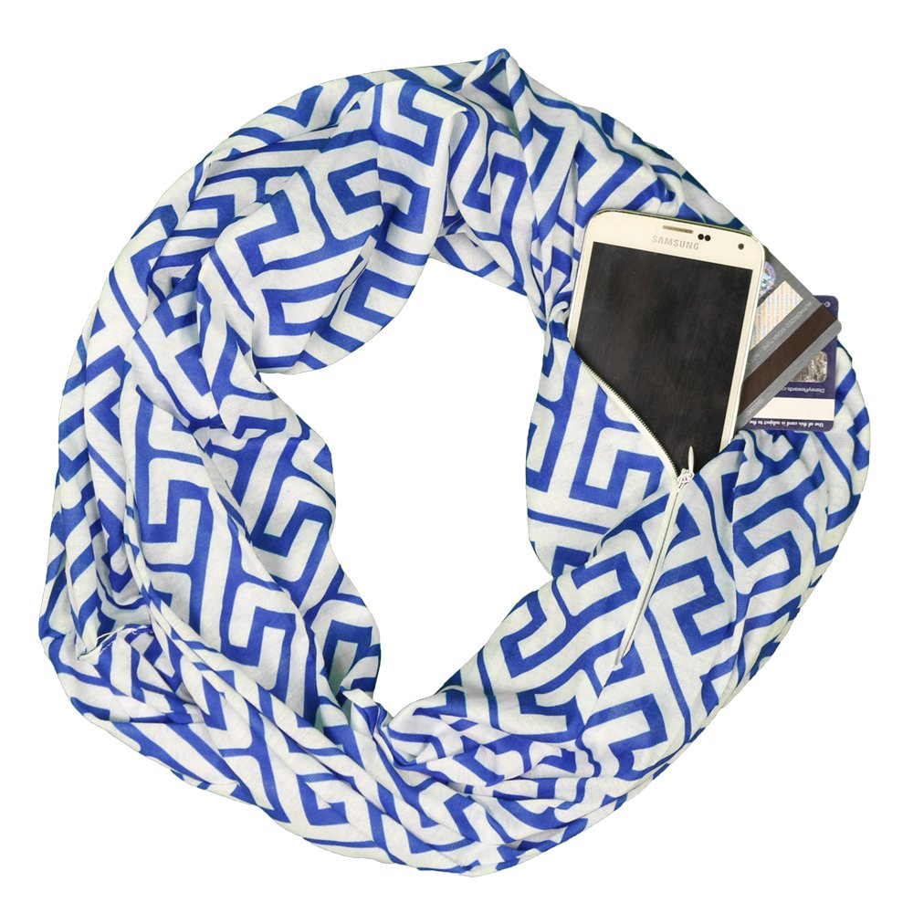 Pop Fashion Womens Greek Key Pattern Infinity Scarf Wrap Scarf with White Zipper Pocket