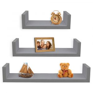 Greenco Set of 3 Floating U Shelves
