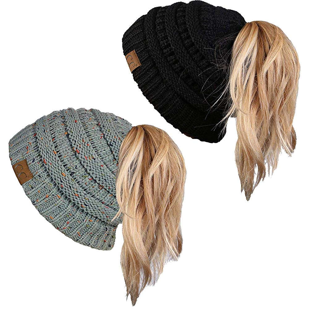 Funky Junque Ponytail Messy Bun BeanieTail Women's Beanie Solid Ribbed Hat Cap