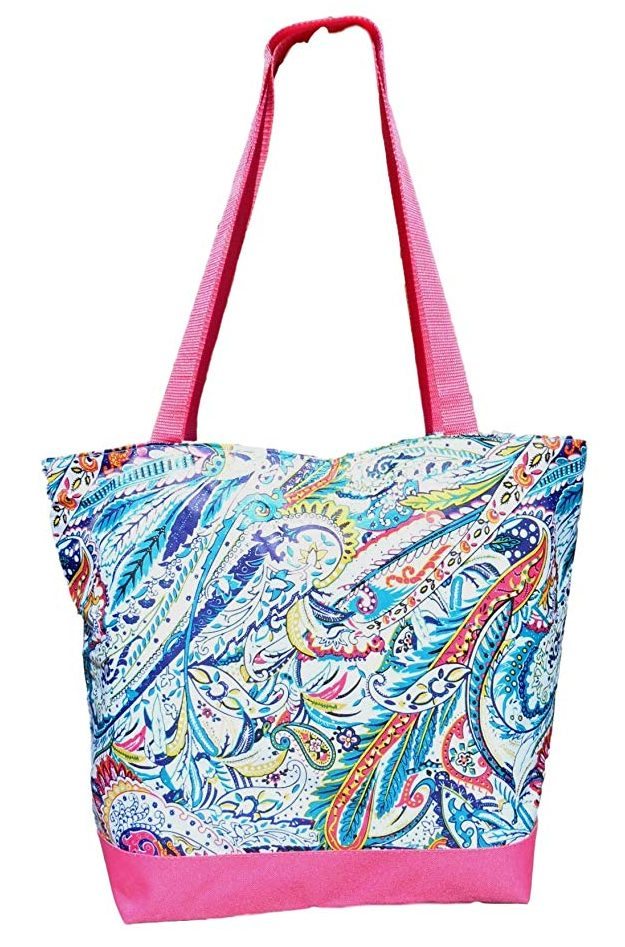 Best Multicolored Paisley Lined Microfiber Boat Utility Shopping Book Tote Bag, Book Purse With Zipper For Teen Girls
