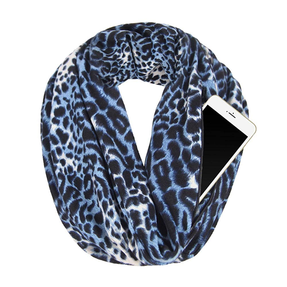 Fashion Large Travel Scarf For Women, Best Soft Infinity Scarf Girl, Travel Scarf With Zipper Pocket Lightweight