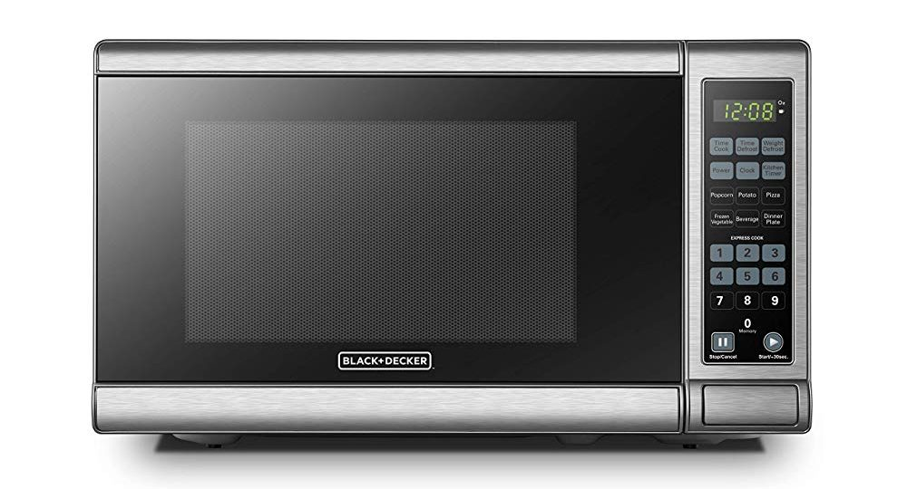 BLACK+DECKER EM720CB7 Digital Microwave Oven with Turntable Push-Button Door, Child Safety Lock, 700W, Stainless Steel, 0.7 Cu.Ft