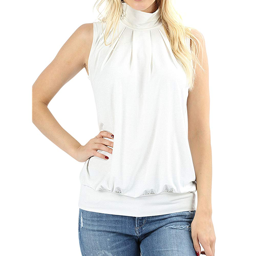 Classic Mock Neck Tank – Pleated Turtleneck Sleeveless Dressy Jersey Top with Waistband