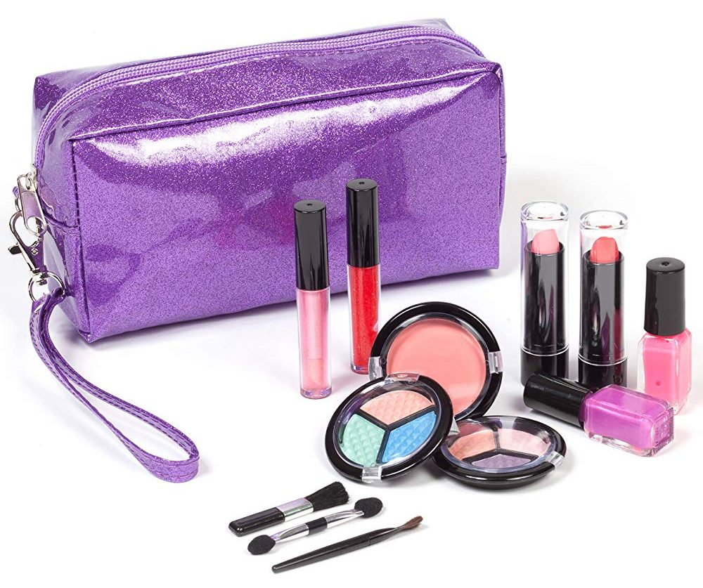 Smart Emily Washable Kids Makeup Set for Girls and Teens with Glitter Cosmetic Bag