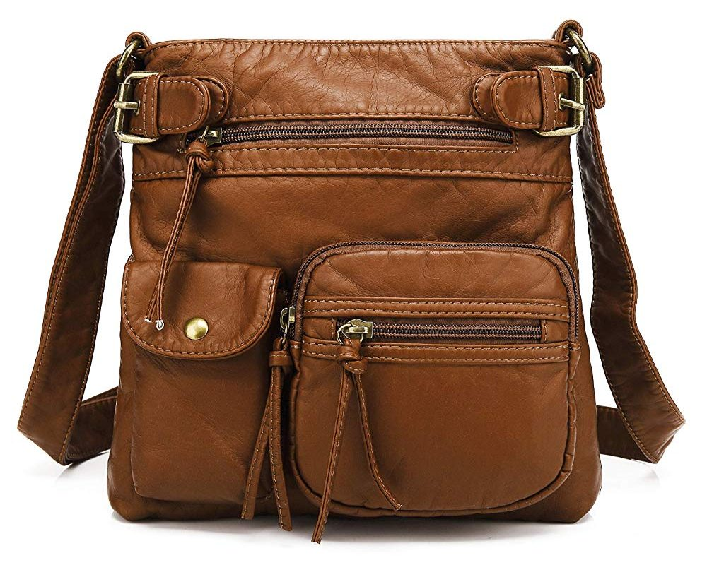 Scarleton Small Multi Pocket Crossbody Bag For Women, Ultra Soft Washed Vegan Leather Shoulder Purse