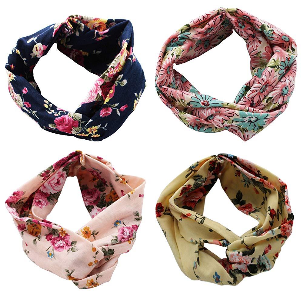 Women Headband Boho Floral Style Criss Cross Head Wrap Hair Band