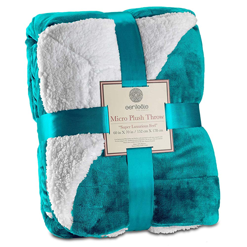 Genteele Sherpa Throw Blanket Super Soft Reversible Ultra Luxurious Plush Blanket (60 inches X 70 inches, Teal)