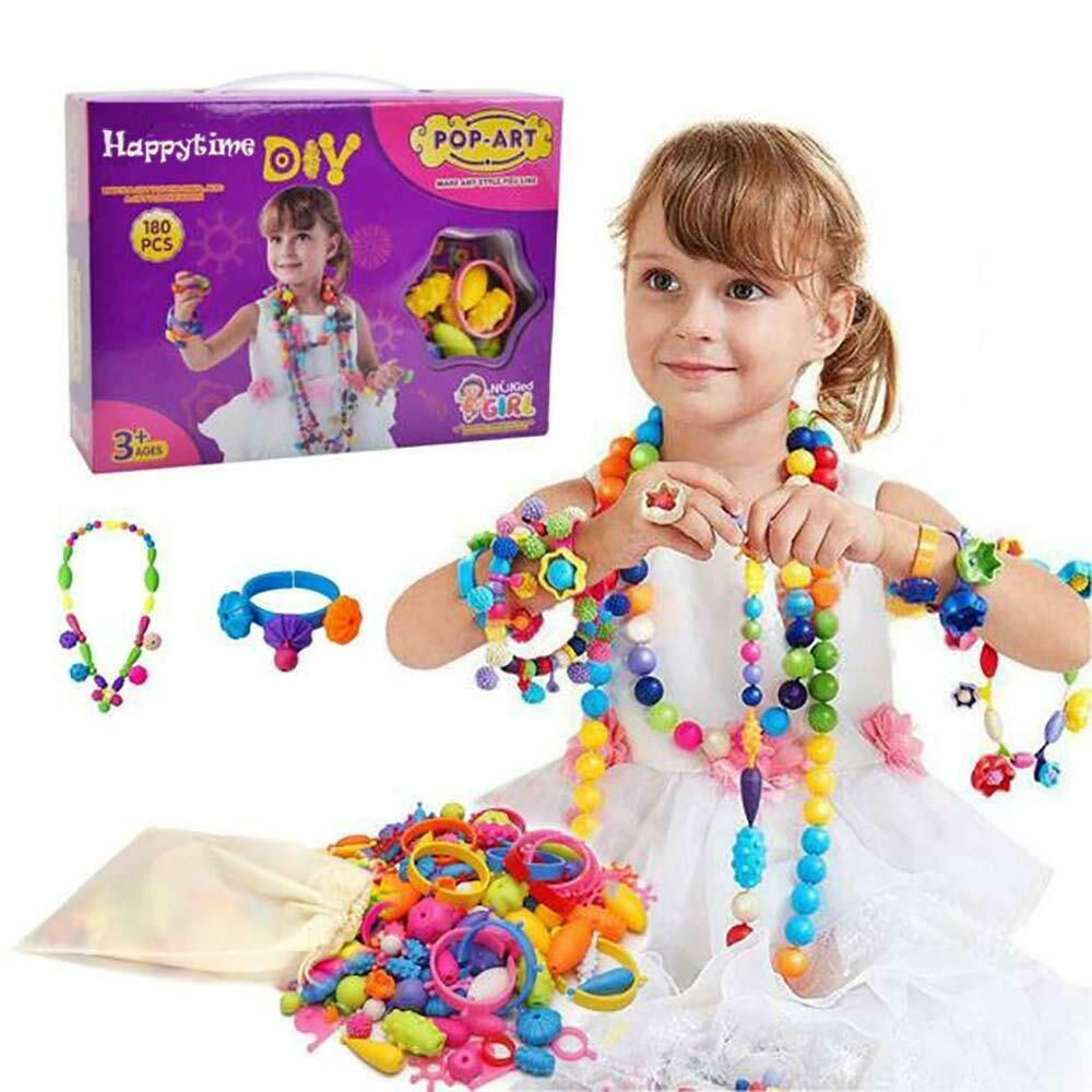 Snap Pop Beads Girls Toy – Happytime 180 Pieces DIY Jewelry Kit Fashion Fun for Necklace Ring Bracelet Art Crafts – Toys for 3 to 8 Year Old Girls