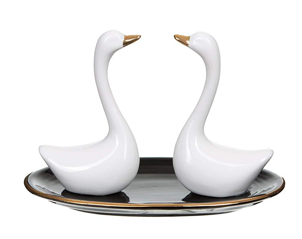 Royary Ceramic Swan Ring Holder Dish Organizer Display Tray for Jewelry