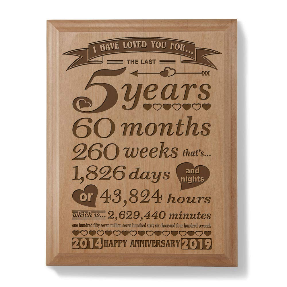 Kate Posh – 5th Anniversary Engraved Natural Wood Plaque