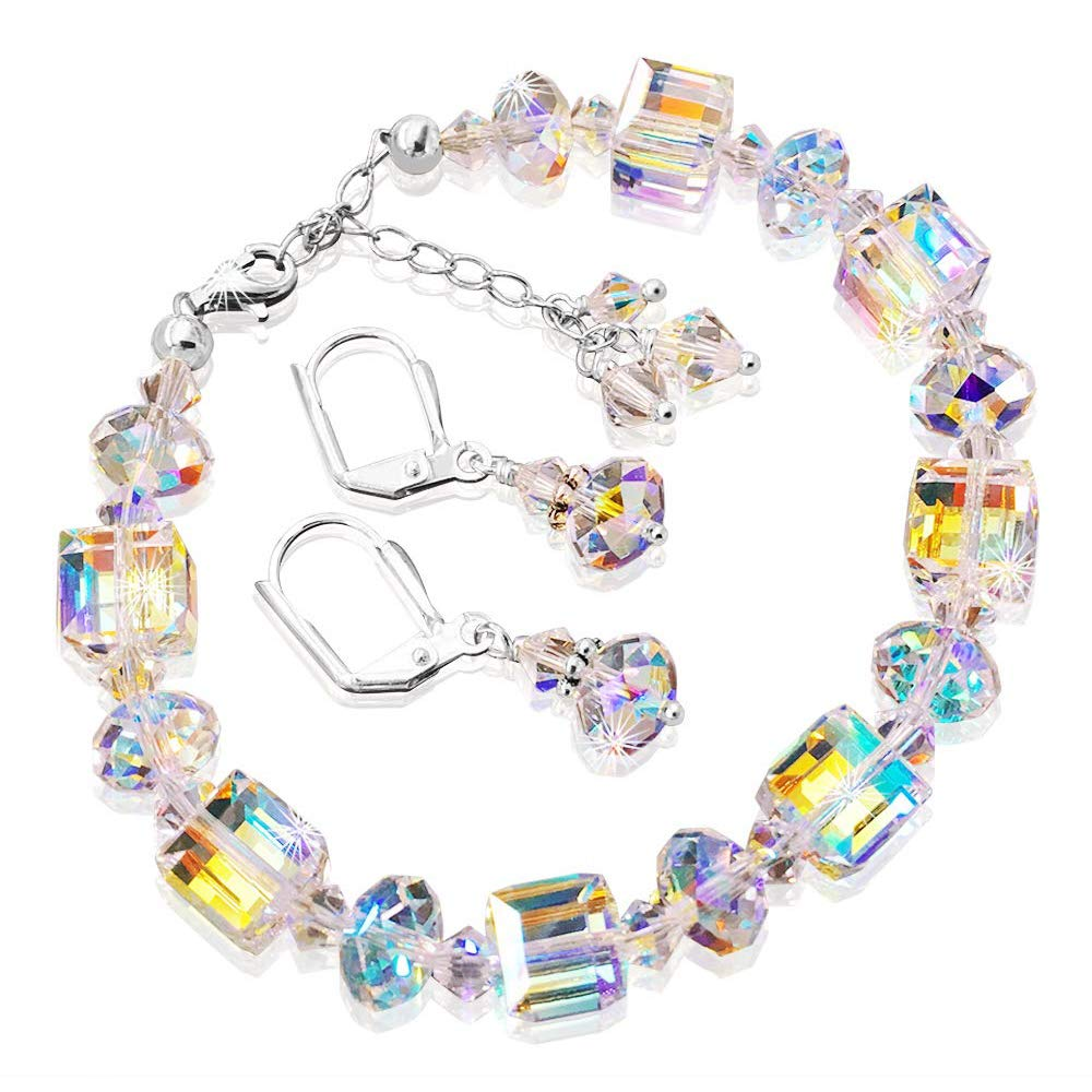"JewelsCreations Crystal Bracelet Romance And Earrings Set With Aurora Borealis Crystals By Swarovski Adjustable 7"" – 8.5"