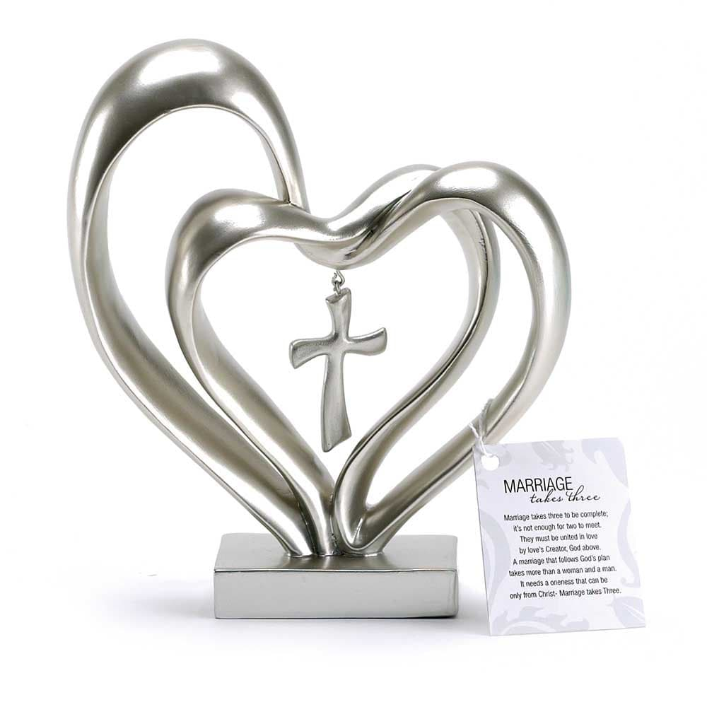 Marriage Takes Three Matte Silver Finish 13X8 inch Cross in the Middle of Hearts Tabletopper