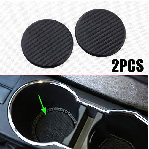 2Pcs Black Car Vehicle Water Cup Slot Non-Slip Carbon Fiber Mat Accessories Tool