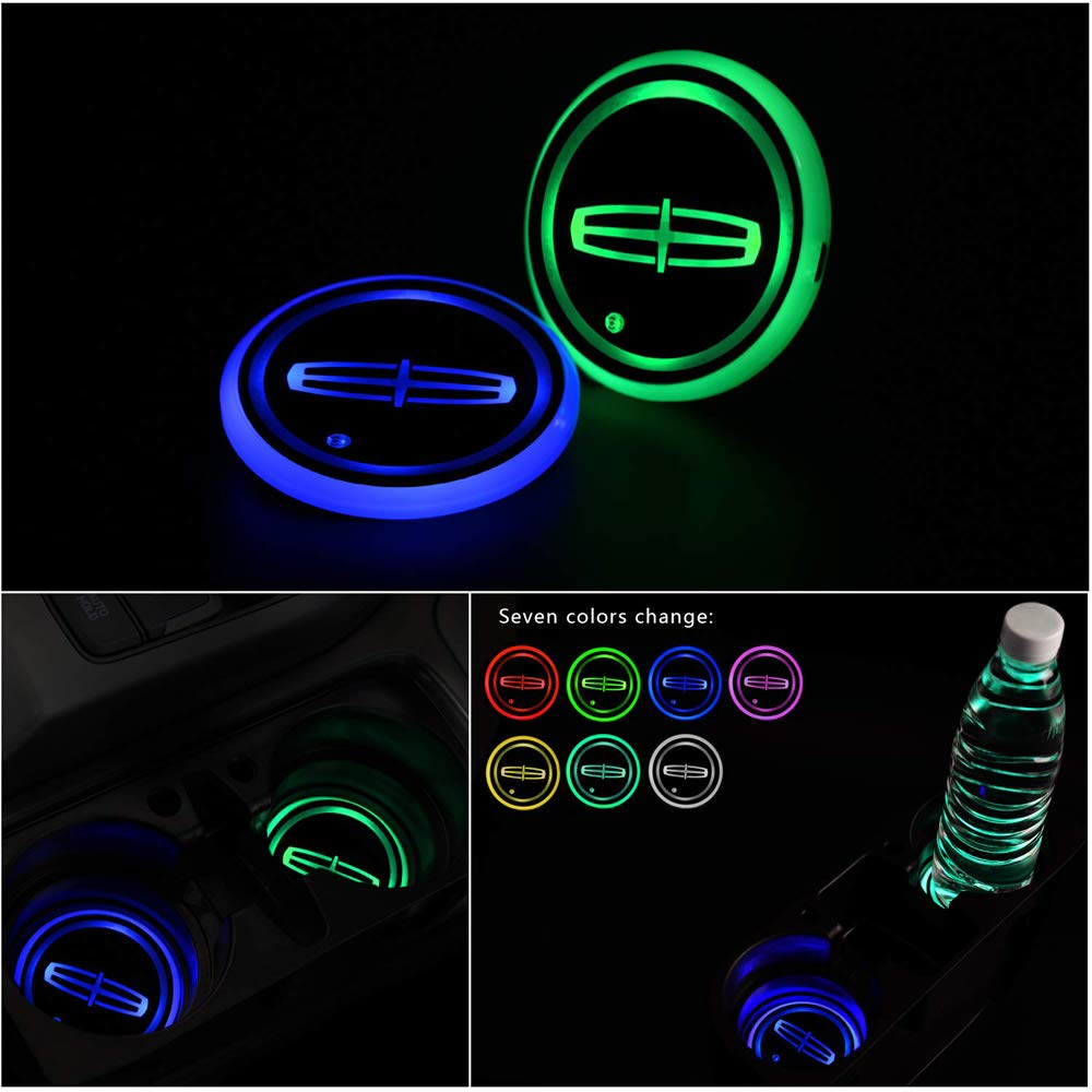 2 Pcs LED Car Cup Holder Lights For cars, 7 Colors Changing USB Charging Mat Luminescent Cup Pad