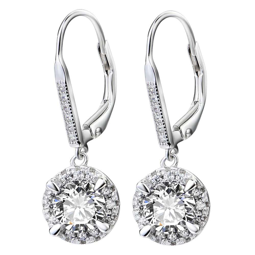YFN Sterling Silver Created Oval-Cut Birthstone Drop Dangle Women Earrings