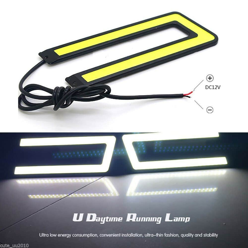2X Car U Shape COB Led Daytime Running Lights Lamp