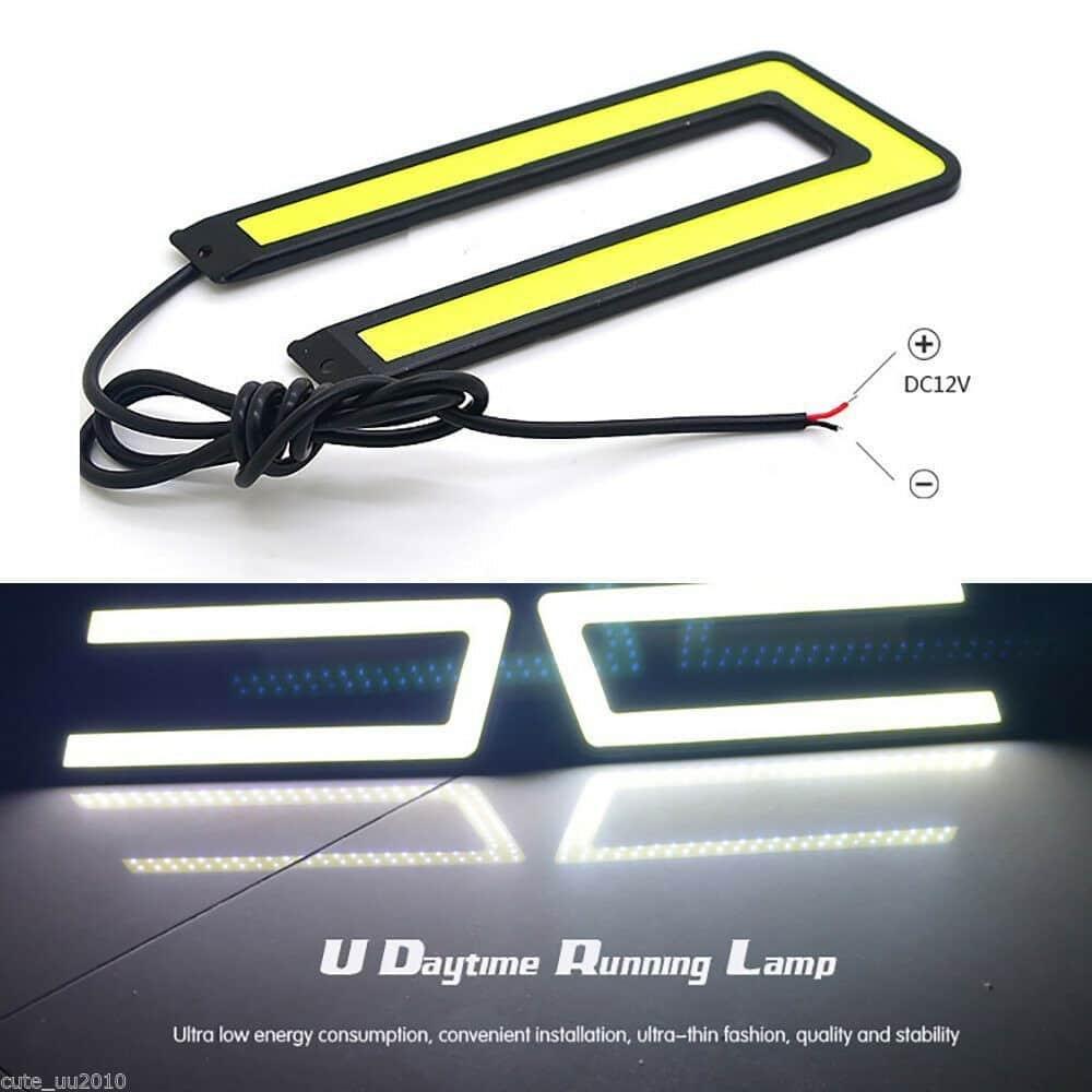 2X Car U Shape COB Led Daytime Running Lights Lamp