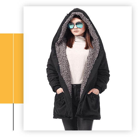 Women Winter Coat Fashion Faux Fur Hood Parka Plus Size