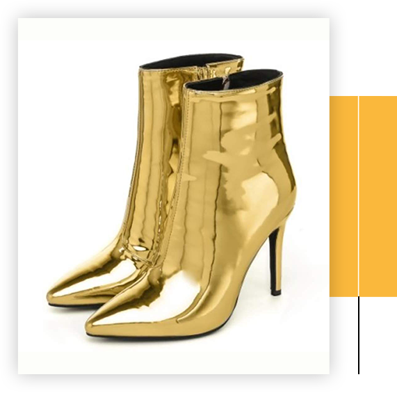 Women Metal Gold High Heels Pointed Ankle Boots Party Zip Booties Patent Leather