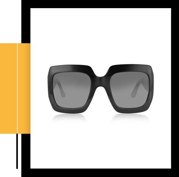 Black Acetate Square Women's Sunglasses