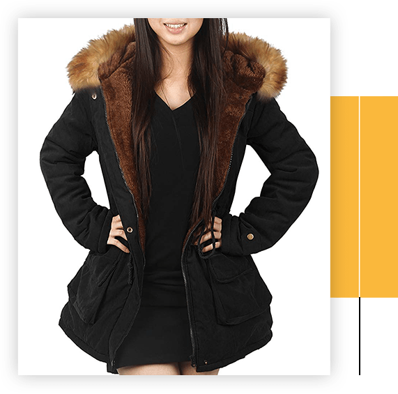 Parka Coat With Hood For Women Black Olive Green