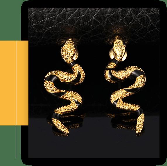 Vivid Snake Earrings Women 18K Gold Plated Cool Dangle Earring