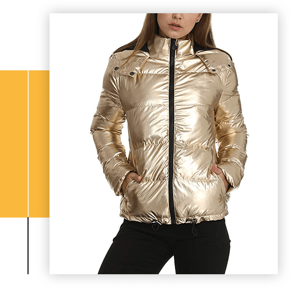 Women's Lightweight Outwear Water-Resistant Hooded Down Metallic Bomber Nightclub Party Jacket