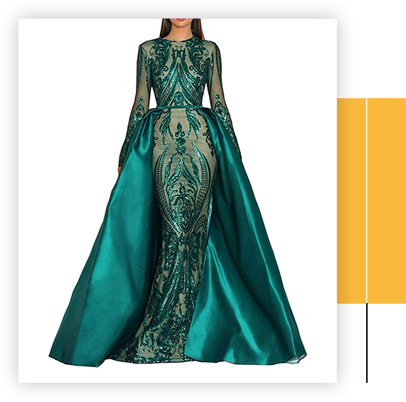 Aries Tuttle Green Satin Mermaid Prom Evening Party Dress