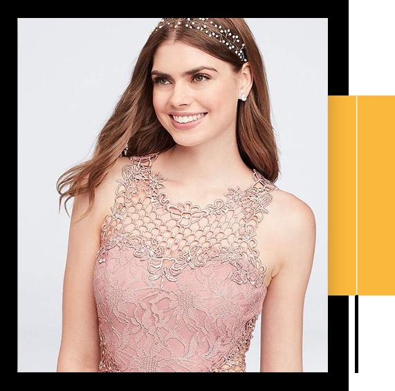 Bridal Lace And Chiffon Prom Dress With Geometric Neckline