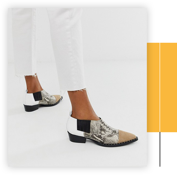 Western Payton mixed snake suede shoes