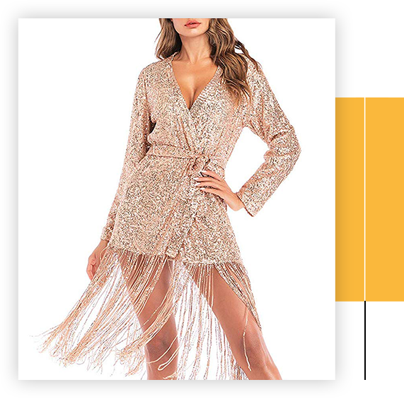 Women Charming Lace Sequins V-Neck Long Sleeve Slim Dress