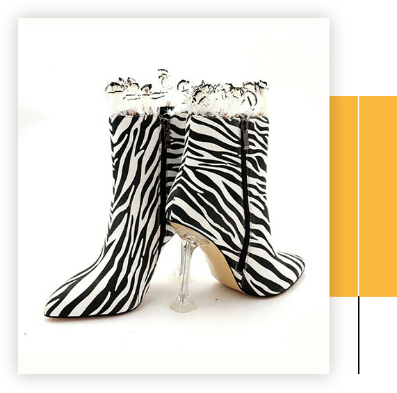 Ladies Womens Zebra Print High Heel Stiletto Ankle Boots Party Shoes