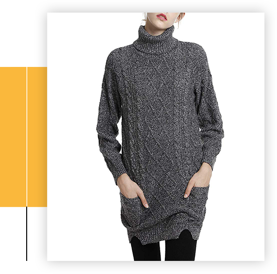 Women's Cashmere Knitted Turtleneck Long Sleeve Winter Wool Pullover Long Sweater Dresses Tops