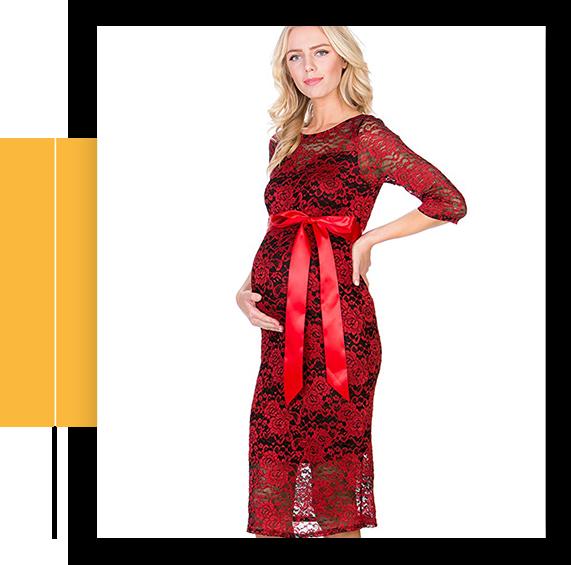 Women's Premium Lace Party Knee Length Maternity Dress