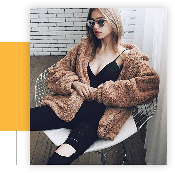 Women's Fashion Long Sleeve Lapel Zip Up Faux Shearling Shaggy- Oversized Coat Jacket