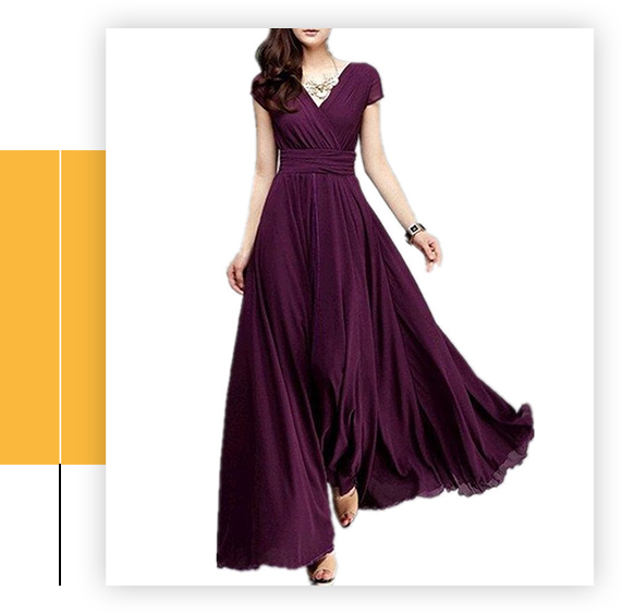 Summer V-Neck Solid Lady Chiffon Dress Long Maxi Gowns