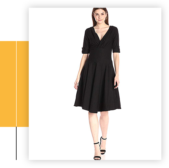 1950s Black Delores Swing Dress With Sleeves